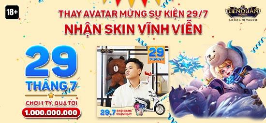 Sự kiện 29/7 thay Avatar nhận Skin trang phục miễn phí Liên Quân Mobile