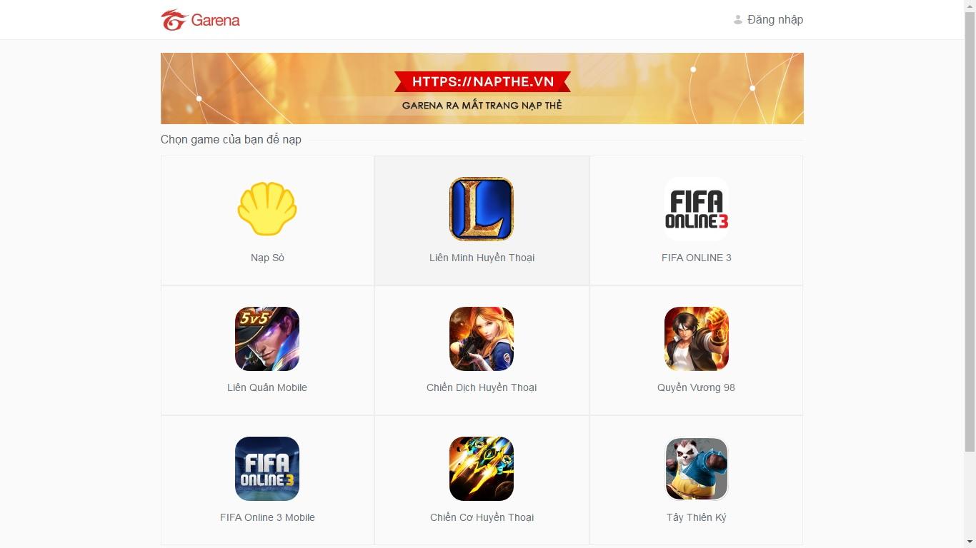 Bạn vào truy cập vào trang napthe.vn và lựa chọn game Liên Quân Mobile